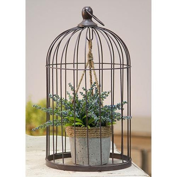 CWI Wire Birdcage With Jute And Cement Plant Holder Large GQX18209A