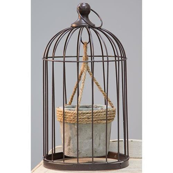CWI Wire Birdcage With Jute And Cement Plant Holder Medium GQX18209B