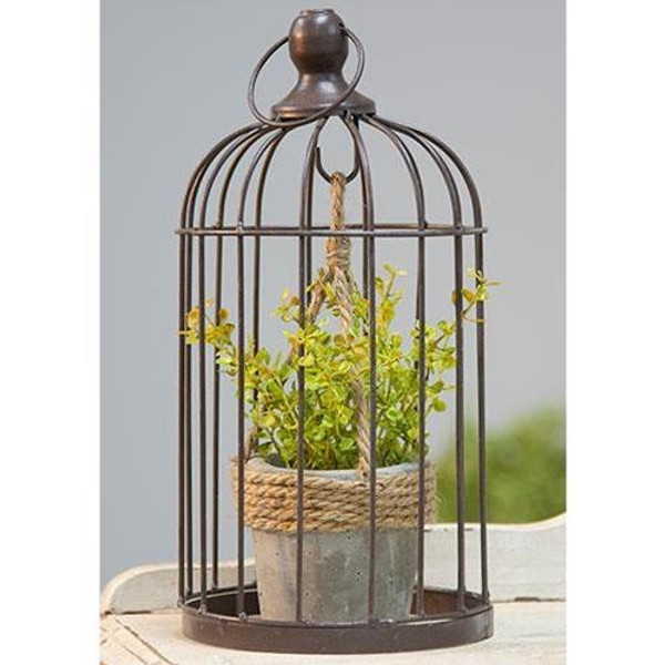 CWI Metal Birdcage With Cement And Jute Plant Holder Small GQX18209C
