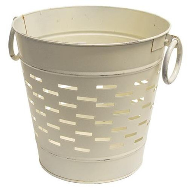 Farmhouse White Olive Bucket 9 Inch GV8850SW1 By CWI Gifts