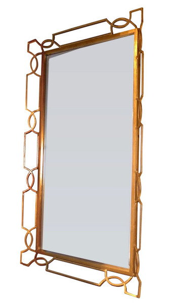 Antique Gold Quatrefoil Wall Mirror And Tray Table Top HC731