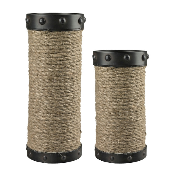 Set Of 2 Natural Rope Wrapped Candle Holders 129-1035 By Sterling
