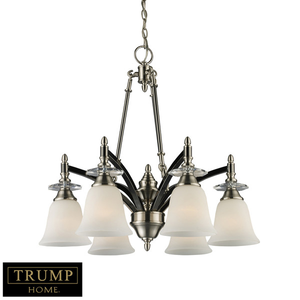 6-Light Chandelier In Black Chrome With Brushed Nickel Accents 15124/6