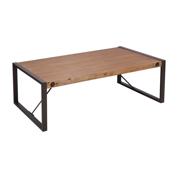 Stein Armour Square Grey-Bronze Metal, Acacia, Mdf, And Wood Veneer Coffee Table 479-011
