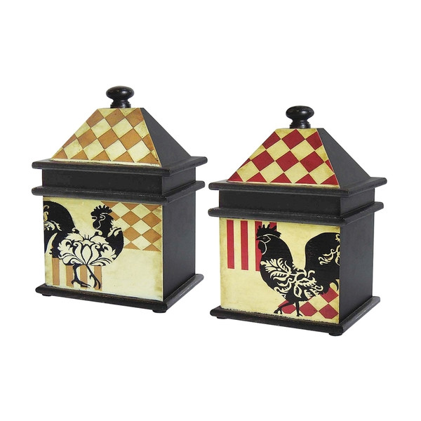 A-Set/2 Harlequin Rooster Boxes 51-9267 By Sterling