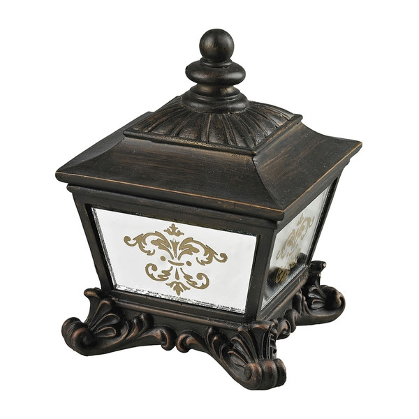Bronze Box With Damask Printed Mirror 87-8003 By Sterling