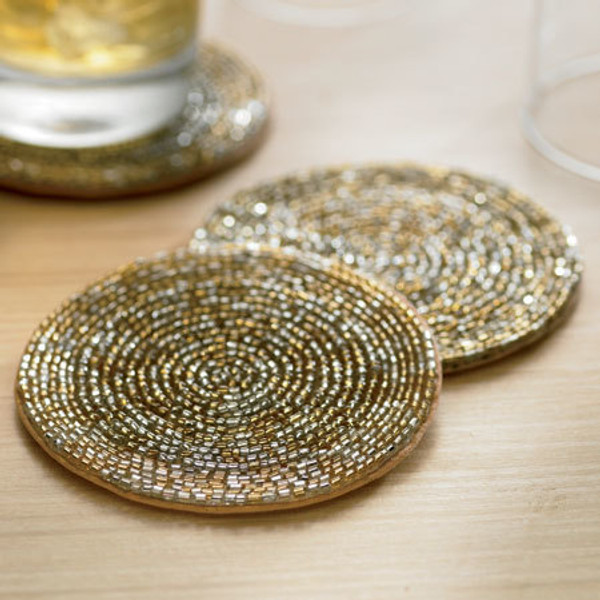 Gold & Silver Beaded Coaster, Pack Of 24 12529 By India Handicrafts