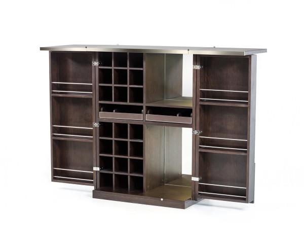 """Homeroots 47"""" Brown Oak Veneer And Leatherette Wine Cabinet 284412"""