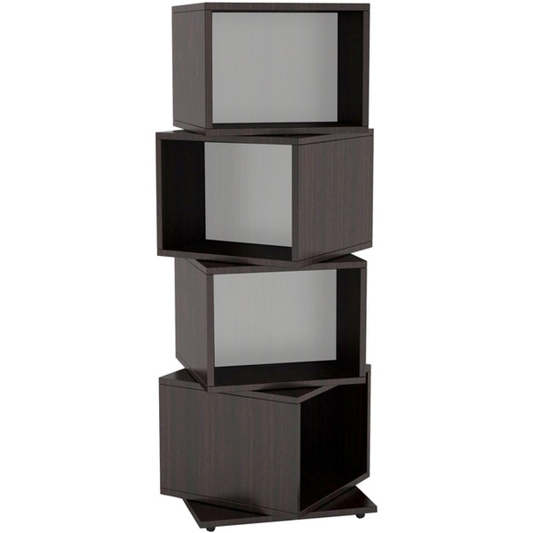 Atlantic Rotating Cube 216 Disc Media Tower In Espresso RC2841 By Atlantic