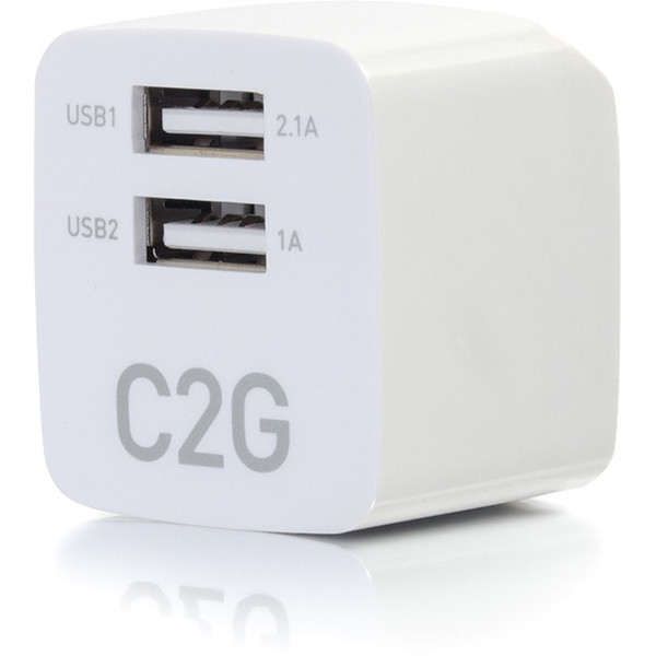 C2G 2-Port Usb Wall Charger - Ac To Usb Adapter, 5V 2.1A Output 1FD488 By C2G