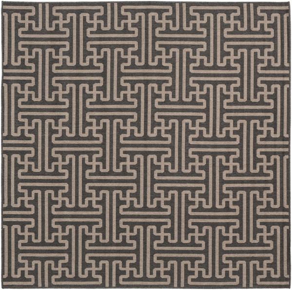 """Surya Alfresco Machine Made Black Rug ALF-9604 - 7'3"""" Square"""