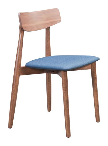"Homeroots 18.7"" X 18.3"" X 30.3"" Walnut & Ink Blue, Poly Linen, Wood Veneer,Dining Chair - Set Of 2 364429"