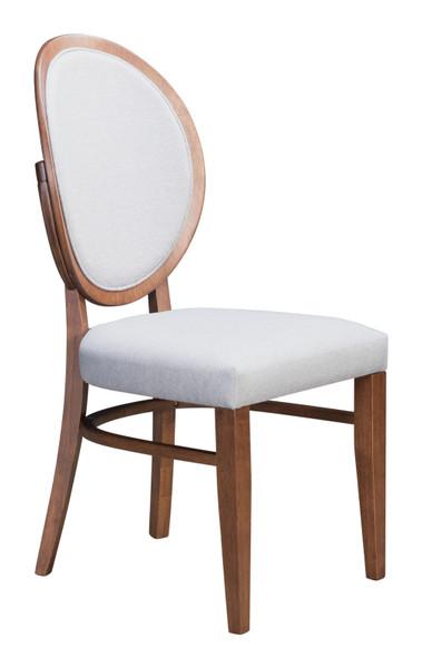 "Homeroots 16.9"" X 21.9"" X 36.8"" Walnut & Light Gray, Rubberwood, Dining Chair - Set Of 2 364433"