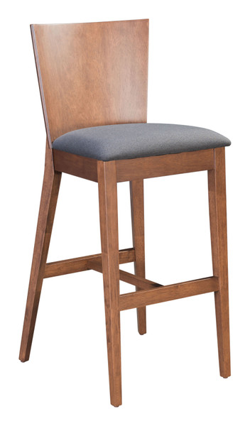 "Homeroots 14"" X 19.3"" X 45.1"" Walnut & Dark Gray, Poly Linen, Mdf, Rubber Wood, Bar Chair 364434"