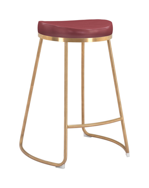 """Homeroots 20.3"""" X 17.5"""" X 26.2"""" Burgundy, Leatherette, Stainless Steel, Counter Stool - Set Of 2 364560"""
