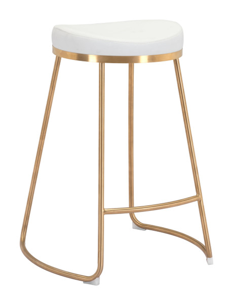"""Homeroots 20.3"""" X 17.5"""" X 26.2"""" White, Leatherette, Stainless Steel, Counter Stool - Set Of 2 364561"""