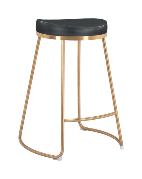 """Homeroots 20.3"""" X 17.5"""" X 26.2"""" Black, Leatherette, Stainless Steel, Counter Stool - Set Of 2 364562"""