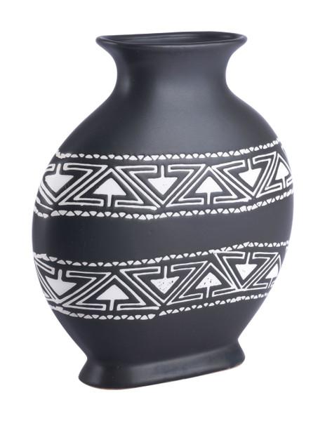 """Homeroots 11"""" X 3.9"""" X 11.6"""" Black & White, Ceramic, Medium Vase 364855"""