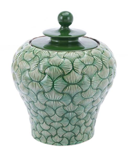 """Homeroots 16.7"""" X 16.7"""" X 20.5"""" Green, Ceramic, Small Temple Jar 364869"""