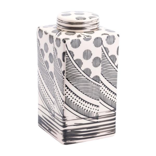 "Homeroots 5.9"" X 5.9"" X 11.4"" Off White & Black, Ceramic, Medium Jar 364883"
