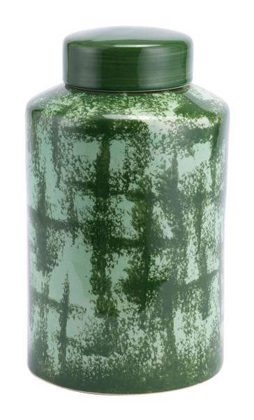 """Homeroots 9.4"""" X 9.4"""" X 16.1"""" Green, Ceramic, Small Temple Jar 364890"""