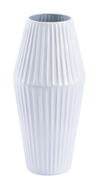"Homeroots 6.5"" X 6.5"" X 13.6"" White, Steel, Small Vase 364937"