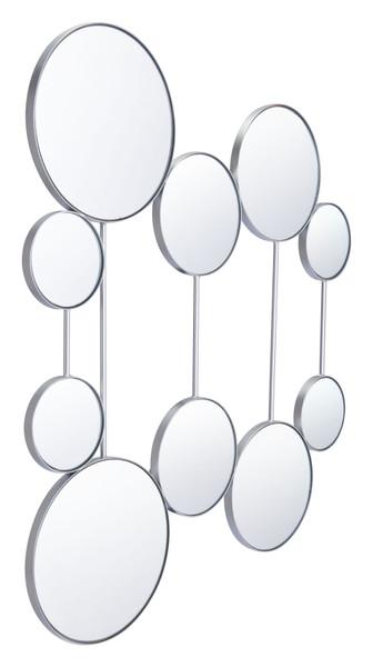 """Homeroots 34.8"""" X 0.8"""" X 41.1"""" Silver, Steel, Mirror & Mdf, Round Mirrors 365036"""