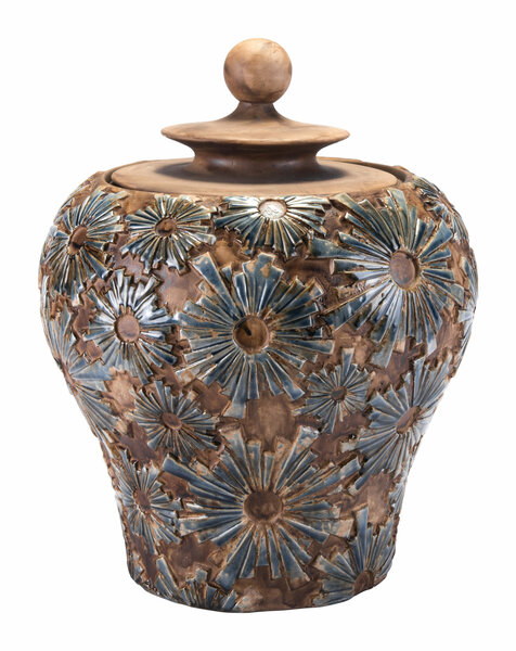 """Homeroots 16.3"""" X 16.3"""" X 19.3"""" Brown, Ceramic, Small Temple Jar 365055"""