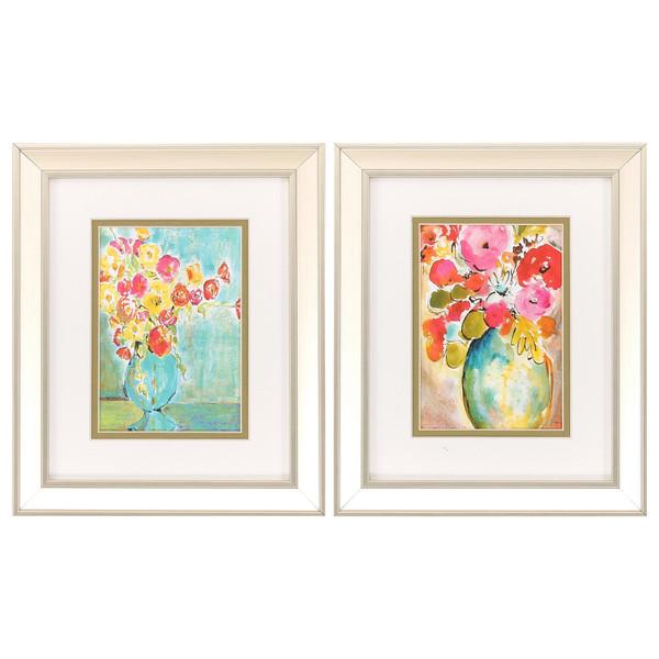 """Homeroots 10"""" X 12"""" Champagne Gold Color Frame Pastel Vase (Set Of 2) 365103"""