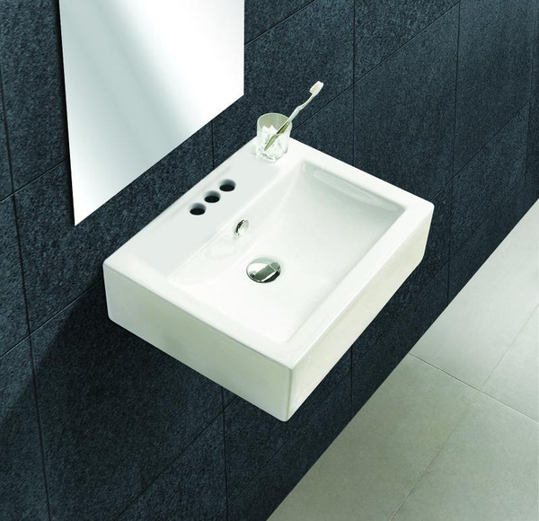 """20.25"""" W Wall Mount White Vessel Bathroom Sink For 3H4"""" Center Drilling"""