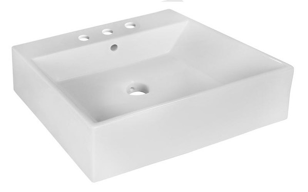 """Above Counter White Vessel Bathroom Sink For 3H8"""" Center Drilling"""