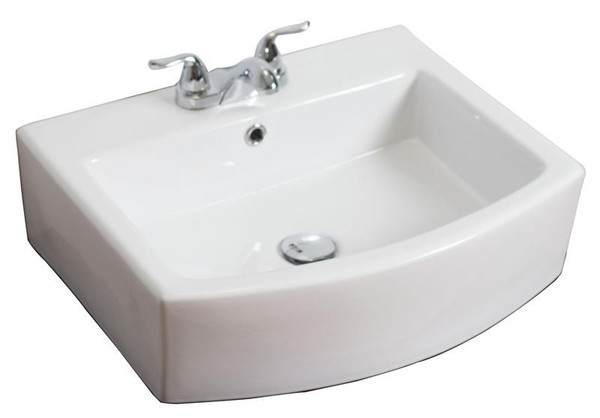 """22.25"""" W Wall Mount White Vessel Bathroom Sink For 3H4"""" Center Drilling"""