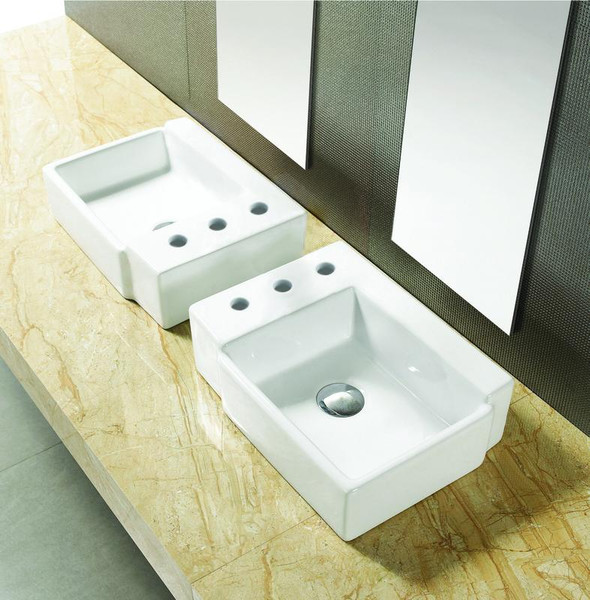 """16.25"""" W Above Counter White Vessel Bathroom Sink For 3H8"""" Left Drilling"""