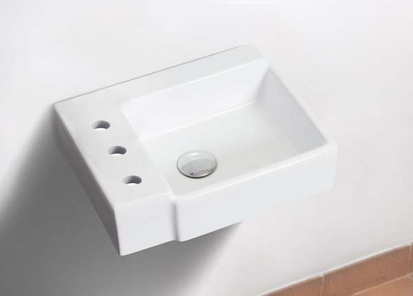 """16.25"""" W Wall Mount White Vessel Bathroom Sink For 3H8"""" Left Drilling"""