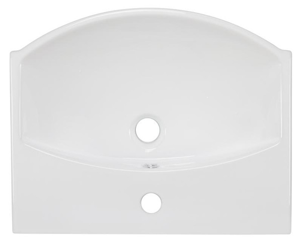 """19.5"""" W Wall Mount White Vessel Bathroom Sink For 1 Hole Center Drilling"""