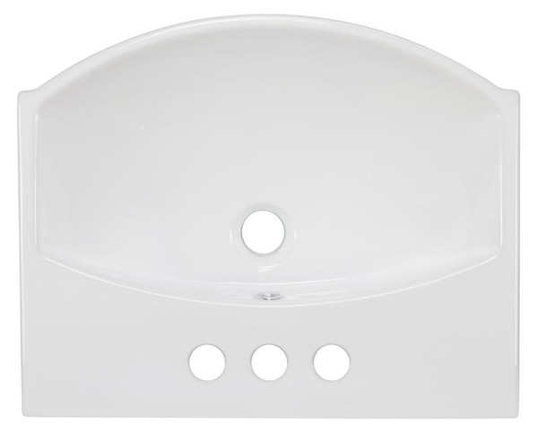 """19.5"""" W Wall Mount White Vessel Bathroom Sink For 3H4"""" Center Drilling"""