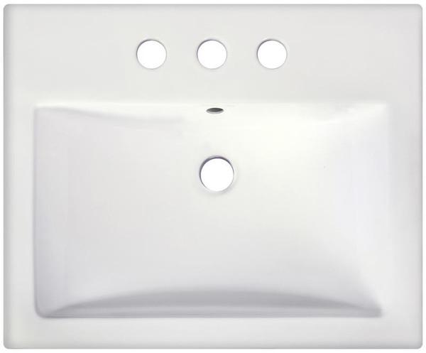 "Semi-Recessed White Vessel Bathroom Sink For 3H4"" Center Drilling"