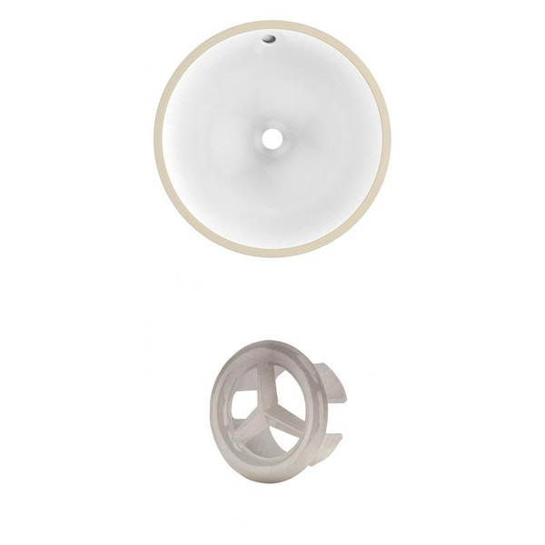 "16.5"" W Round Undermount Sink Set In White - Brushed Nickel Hardware"