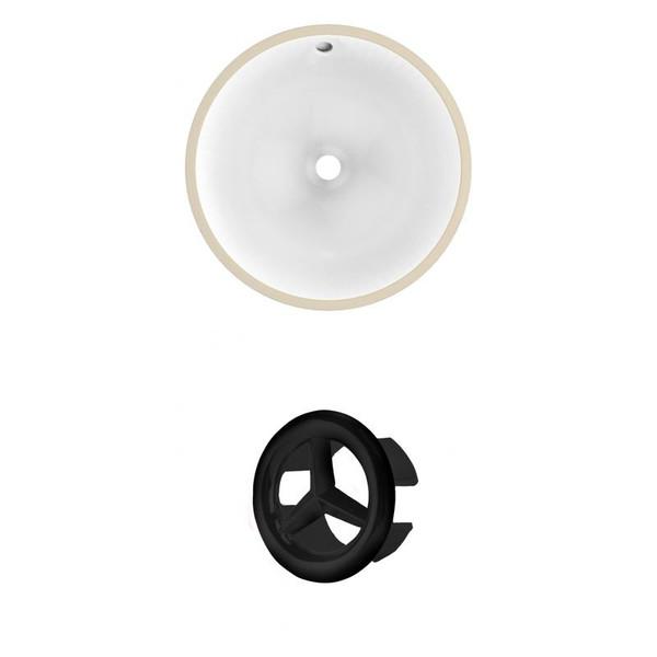 """15.25"""" W Round Undermount Sink Set In White - Black Hardware AI-20446"""