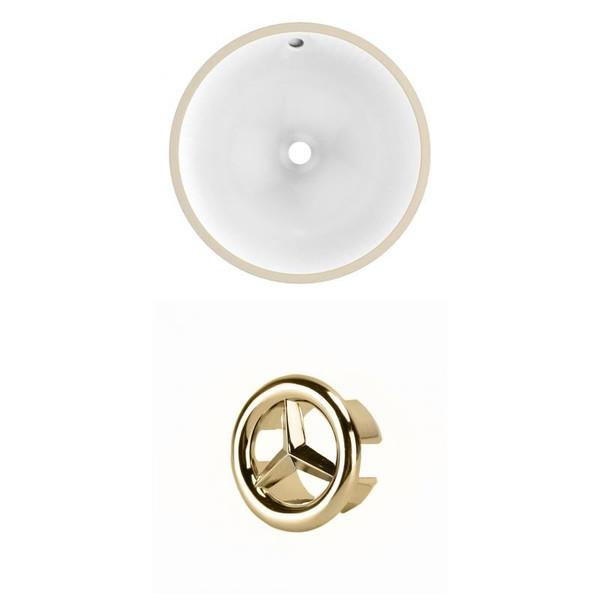 """15.25"""" W Round Undermount Sink Set In White - Gold Hardware AI-20451"""