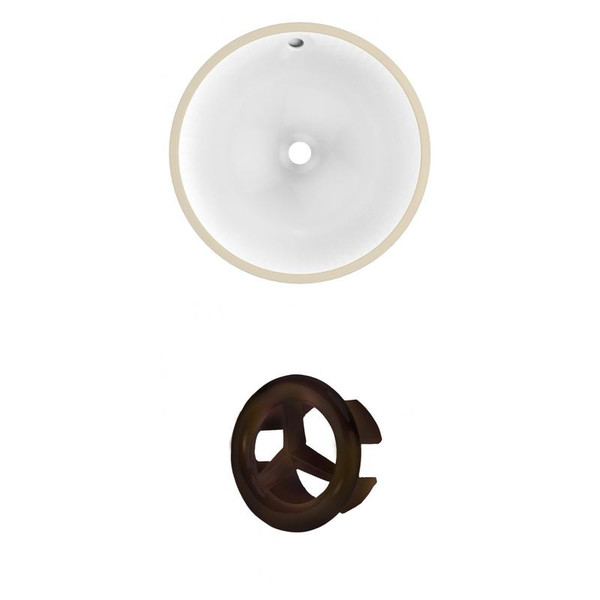 """15.25"""" W Round Undermount Sink Set In White - Oil Rubbed Bronze Hardware"""