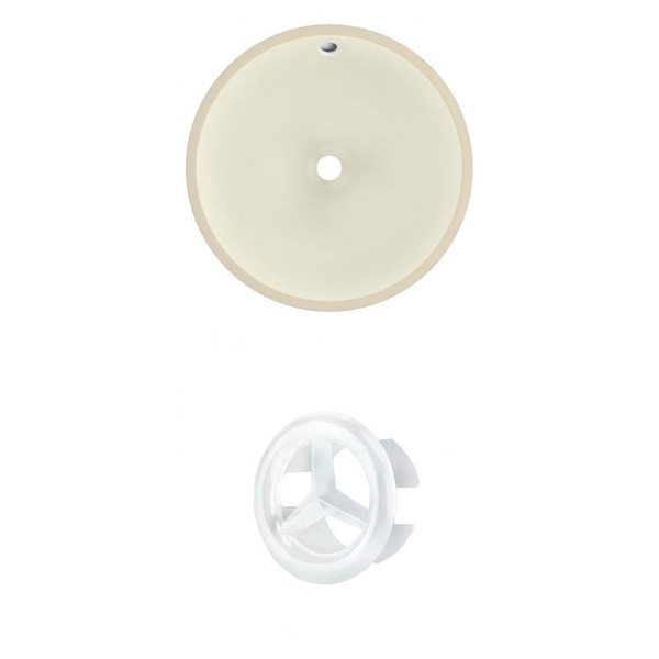 """16"""" W Round Undermount Sink Set In Biscuit - White Hardware AI-20455"""