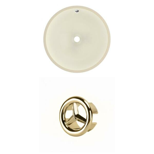 """16"""" W Round Undermount Sink Set In Biscuit - Gold Hardware AI-20459"""