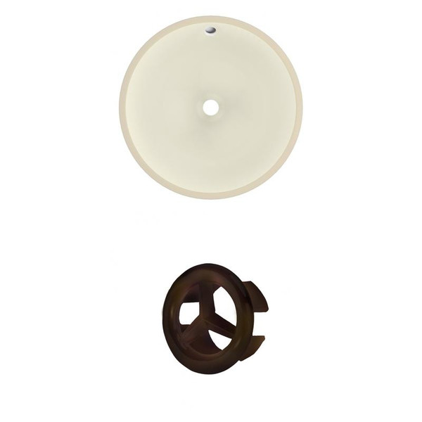 "16"" W Round Undermount Sink Set In Biscuit - Oil Rubbed Bronze Hardware"