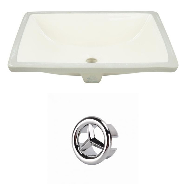 "18.25"" W Cupc Rectangle Undermount Sink Set In Biscuit - Chrome Hardware"