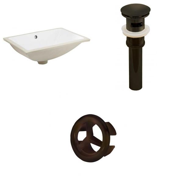 Csa Rectangle Undermount Sink Set - White-Oil Rubbed Bronze Hardware