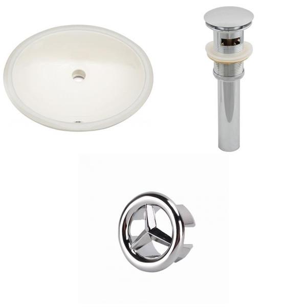 Oval Undermount Sink Set In Biscuit - Chrome Hardware
