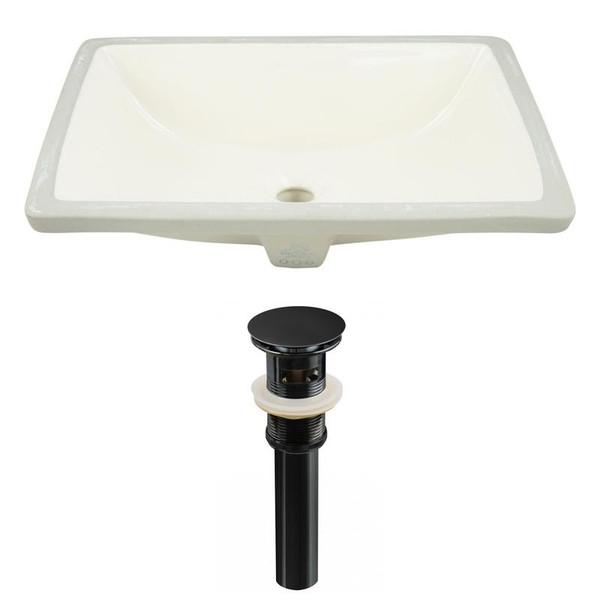 Rectangle Undermount Sink Set In Biscuit - Black Hardware