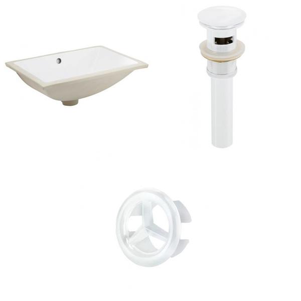 Cupc Rectangle Undermount Sink Set - White-White Hardware