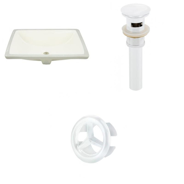 Cupc Rectangle Undermount Sink Set In Biscuit - White Hardware